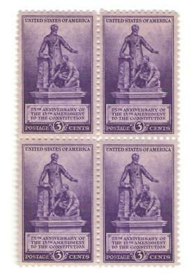 13th Ammedment Abolishes Slavery Lincoln 77 Yr Old Mint Vintage Stamp Block 1940
