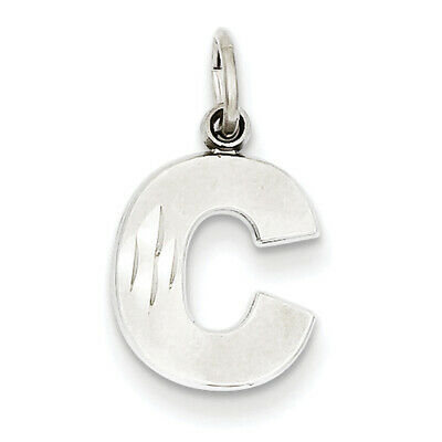 14k White Gold Casted Initial D Charm 14mmx7mm