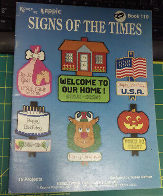 1987 Kount On Kappie Signs of the Times Book 119 Plastic Canvas - 16 projects