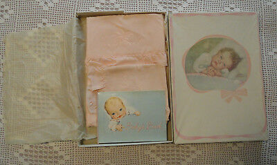 Vintage Small Baby Coverlet & Pillow Cover Crib or Pram Set in Orig. Box w/ Book