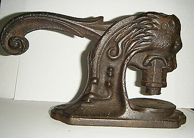 Cool Antique Cast Iron Lion Head Notary Embossing Seal Stamp Desktop Press
