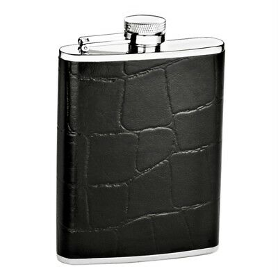 Croco Embossed Leather Wrapped Stainless 6 oz Liquor Flask in New in Gift Box