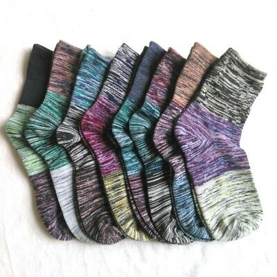 8 Pack Women's Colorful Patterned Fashion Ladies Cotton Vintage Style Crew Socks