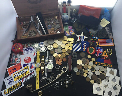 Vintage Junk Drawer Lot - Fun Collectibles, Watches, Pins, Coins, Stamps, knives