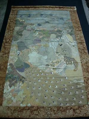 A Good Large Antique Japanese Embroidered Wall Hanging Panel With Luohans