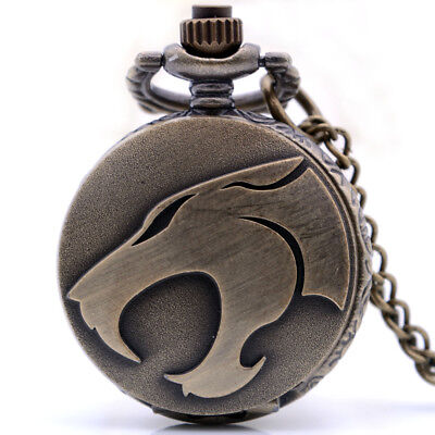 Small Size Steampunk Antique Big Month Wolf Mens Boys Quartz Pocket Watch Kids