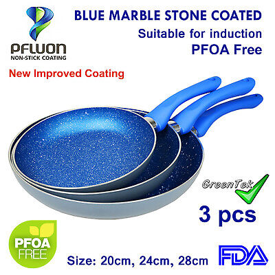 3pc Frypan Set with 28cm lid,Blue Stone Non-Stick induction,Frying Pan,Fry Pan