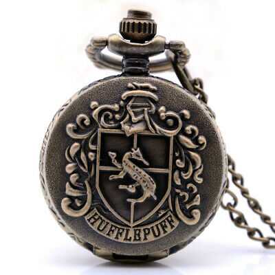 Small Antique Steampunk Harry Potter HUFFLEPUFF Mens Quartz Pocket Watch Pendant