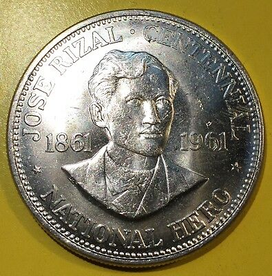 Uncirculated 1961 Philippines Large Silver Peso Jose Rizal From Mint Roll Coin 3