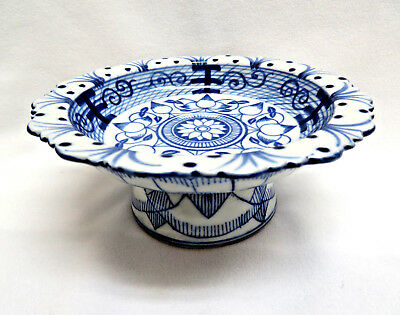 Asian Blue & White Porcelain Footed Dish Tazza