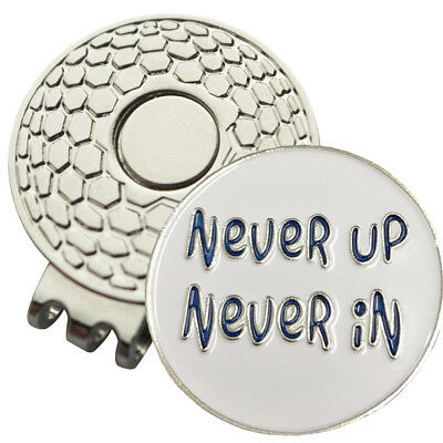 1 x New Magnetic Hat Clip Never Up Never In Golf Ball Marker For Golf Hat/Visor