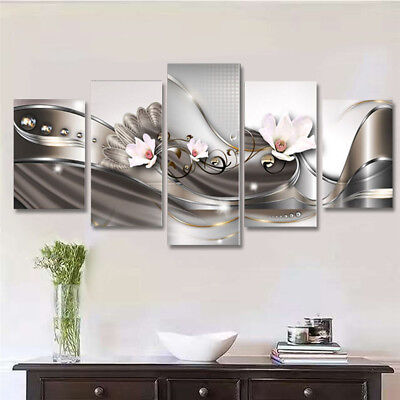 Framed 5Pcs Abstract Flower Giclee Canvas Print Art Painting Wall Picture Decor