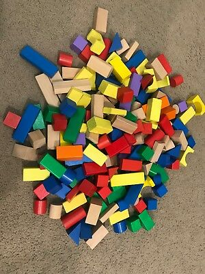 Wooden Blocks 187 colourful pieces, excellent cond.