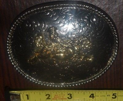 Vintage Western Cowboy Riding Bucking Bonco Belt Buckle silver gold tone USA 5""