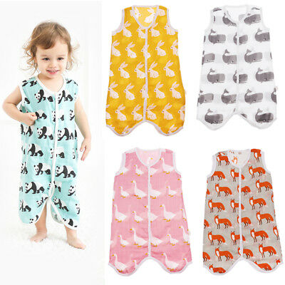 Toddler Baby Summer Sleeping Bag Cotton Muslin Wearable Baby Blanket