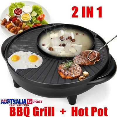 1350W 2 In 1 Electric Non Stick BBQ Grill Plate Hot Pot Dinner Party Picnic 34cm
