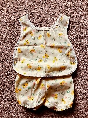 Vintage Baby Girl 2 pc. Bumble Bee Sun Suit Apron Dress Side Button Pinafore