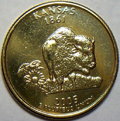 2005-D 25c Kansas State Quarter Clad 24 Karat Gold Plated Uncirculated