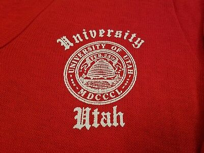 Vtg Creslan & Rayon V Neck Sweater L University of Utah Letterman fraternity SLC