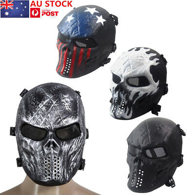 AU CS Tactical Military Mask Airsoft Paintball Skull Halloween Mask Skeleton Toy