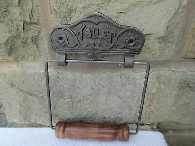 Lovely Decorative Cast Metal & Wood Vintage/ Antique Style Toilet Roll Holder