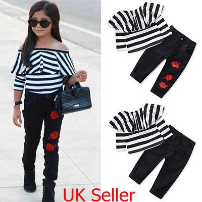 UK Kids Toddler Girls Outfits Clothes Ruffle Striped Tops T Shirt + Long Pants