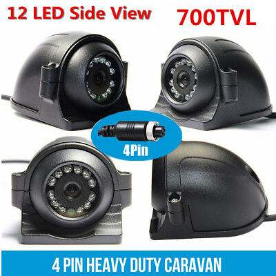 Universal 4 Pin Heavy Duty 12-24V CCD Side View Camera 12 IR LEDs For Truck Bus