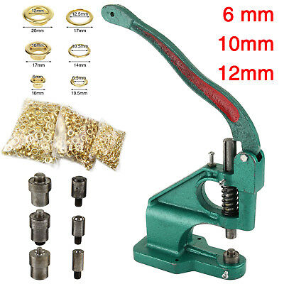 Press Eyelet Hole Punch Machine Hand Press Steel Banner Bag+3 Dies+ 900 Grommet