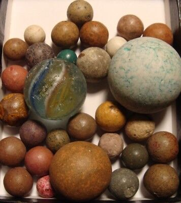25 Vintage Handmade Marbles Clay Big Stoneware More Primitives Old Time Toys