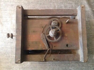 Antique Clock Movement Weight Driven 23x12x18cm Restoration Repair Spare Parts