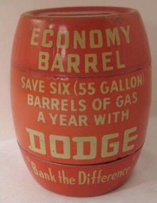 Antique Tin Figural Advertising Bank DODGE Vehicles Save 6 Barrels of Gas 1930