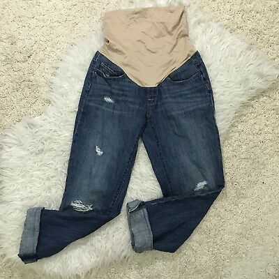 LOFT DISTRESSED DENIM BOYFRIEND JEANS XS MATERNITY FULL PANEL size 2/4/6