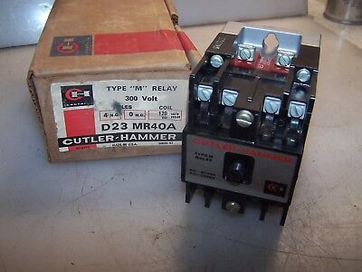 "New Cutler Hammer Type ""m"" Relay 4 Pole N.o.  300 Volt 120 Vac Coil D23Mr40A"