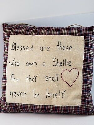 Blessed are those who own SHELTIE HANDMADE Wall Hanging Pillow HAND EMBROIDERED