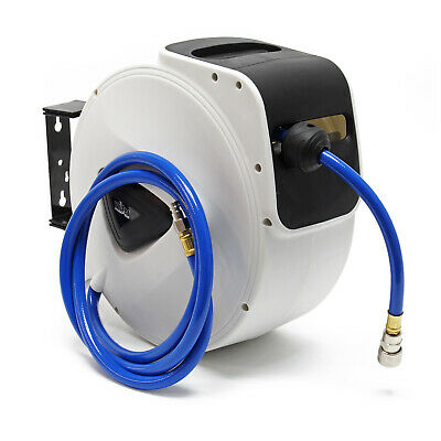 Automatic Hose Reel Compressed Air Pipe Tube 15m 20bar 180° Swing Wall Mount