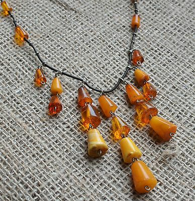 23 gr Genuine natural antique amber round beads necklace pendant egg yolk