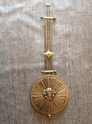 Antique Brass French Clock Pendulum 219g 110mm Diameter 320mm Long Spare Parts