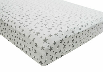 1x Cot Bed 100% Cotton Jersey Fitted Sheet 140cm x 70cm Midnight Grey