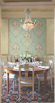 Neoclassical Floral Rose Wreath Green Blush Pink Gold Double Roll Wallpaper