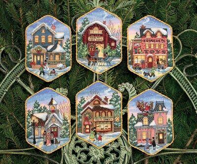 Dimensions Needlecrafts Counted Cross Stitch Christmas Village Ornaments NEW