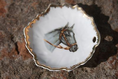 Vintage Napco Gray Horse Miniature Plate Dish Gold Trim Leaf Shaped 4 in