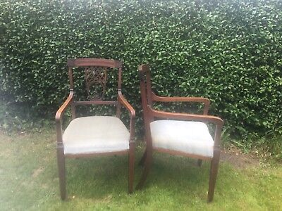 Pair of antique edwardian mahogany and satinwood inlaid arm chairs