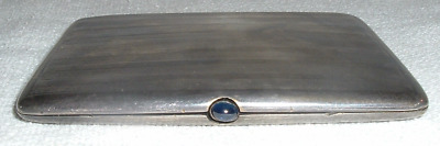 1920s Art Deco STERLING 925 Cigarette Case Sapphire Blue Snap GOLD Wash French?