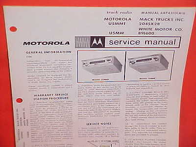1967 Mack White Truck Motorola Am Radio Service Shop Repair Manual Brochure 67