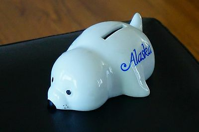 Figurine COIN Bank ALASKA Ceramic WHITE Baby Seal Pup Blue Flowers With Plug