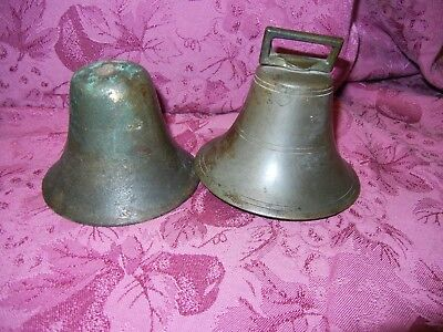 Vintage Cow Animal Hanging Bronze Brass Bell cast iron clapper lot of 2      #2