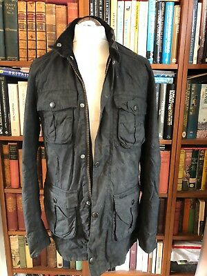 Vintage Wax Barbour Corbridge Black Jacket With Hood Size M