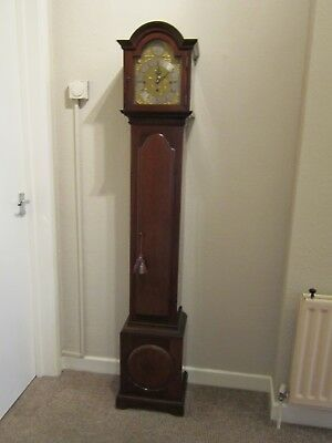 Edwardian period three train weight driven 1/4 striking grandmother clock.