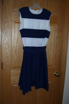USED OLD STOCK Navy Blue & White DRESS-Un-branded -see measurements