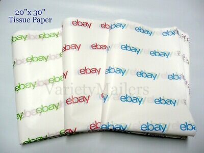 "25 Large Sheets of eBay Branded Tissue Paper 20""x 30"" ~ Free Shipping!"